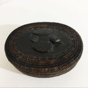 Vintage Handwoven & Hand-carved Basket with Lid